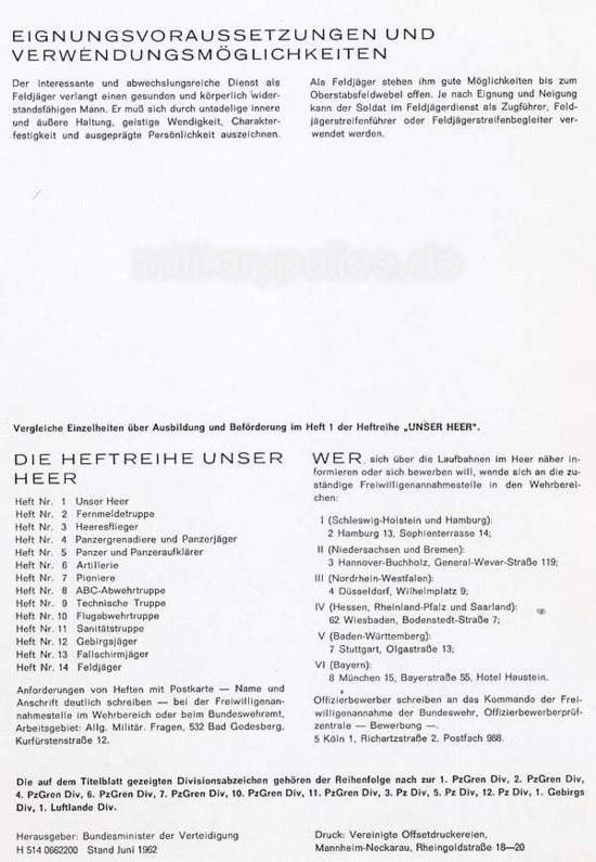 """Heftreihe """"Unser Heer"""", Heft Nr. 14 - Feldjäger - von 1962, Seite 9"""