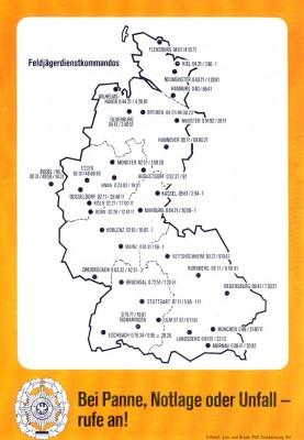 Erreichbarkeiten Feldjägerdienstkommandos (Ende 80'er)